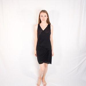 HELMUT LANG Drape Wrap Thin Black Mini Dress XS